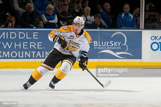 Ivan Provorov of Brandon Wheat Kings skates against the Kelowna Rockets on October 25 2014 at Prospera Place in Kelowna British Columbia Canada