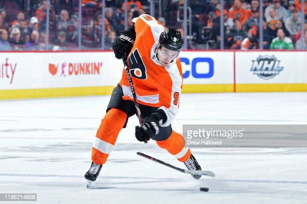 Ivan Provorov of the Philadelphia Flyers breaks his stick on a shot against the Ottawa Senators in the second period at Wells Fargo Center on March...