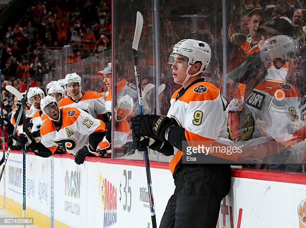 Ivan Provorov of the Philadelphia Flyers celebrates his goal in the second period against the Chicago Blackhawks on December 3 2016 at Wells Fargo...