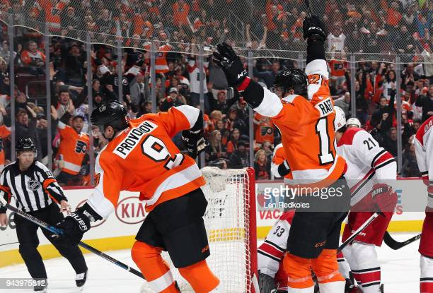 Ivan Provorov of the Philadelphia Flyers celebrates his second period goal against the Carolina Hurricanes with Michael Raffl on April 5 2018 at the...