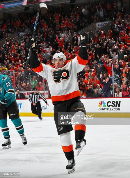 Ivan Provorov of the Philadelphia Flyers celebrates his third period goal against the San Jose Sharks on February 11 2017 at the Wells Fargo Center...