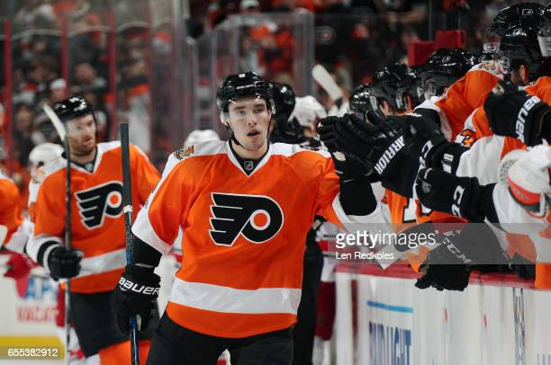 Ivan Provorov of the Philadelphia Flyers does a flyby of his bench after scoring against theCarolina Hurricanes on March 19 2017 at the Wells Fargo...