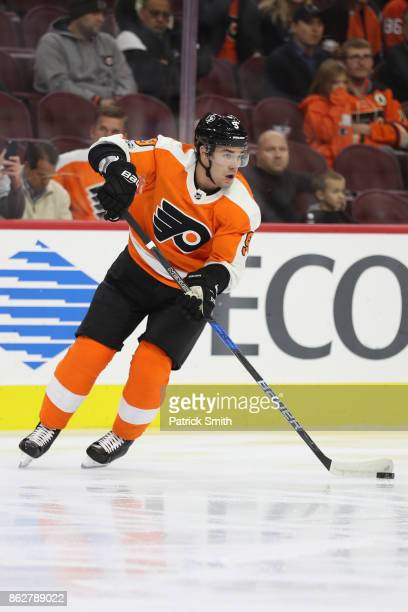Ivan Provorov of the Philadelphia Flyers in action against the Florida Panthers during the first period at Wells Fargo Center on October 17 2017 in...