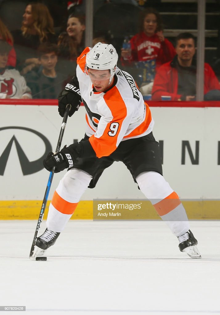 Ivan Provorov #9 of the Philadelphia Flyers plays the puck against the New Jersey Devils during the game at Prudential Center on January 13, 2018 in Newark, New Jersey.
