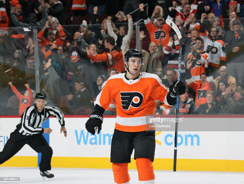 Ivan Provorov #9 of the Philadelphia Flyers reacts following a third period goal against the New York Islanders on January 4, 2018 at the Wells Fargo Center in Philadelphia, Pennsylvania.