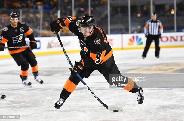 Ivan Provorov of the Philadelphia Flyers shoots against the Pittsburgh Penguins during the 2017 Coors Light NHL Stadium Series at Heinz Field on...