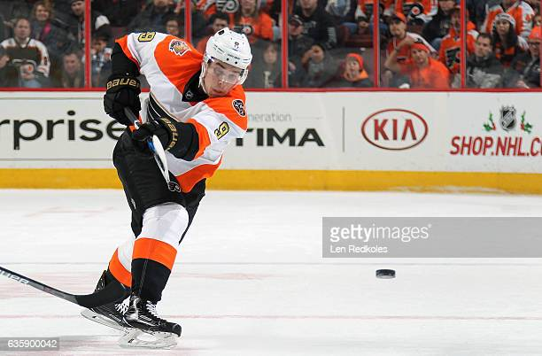 Ivan Provorov of the Philadelphia Flyers shoots the puck against the Dallas Stars on December 10 2016 at the Wells Fargo Center in Philadelphia...