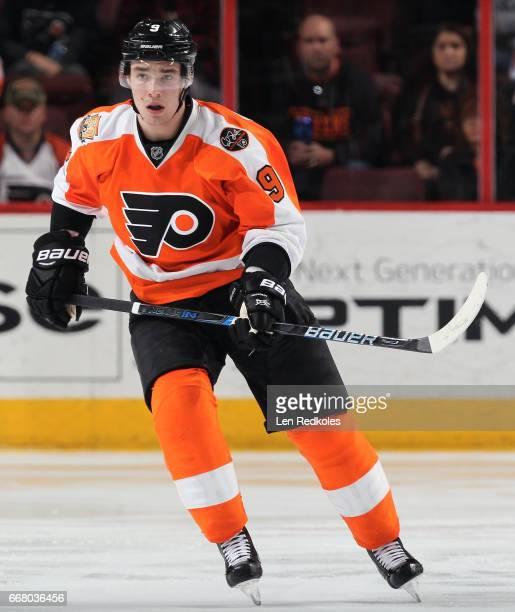 Ivan Provorov of the Philadelphia Flyers skates against the Columbus Blue Jackets on April 8 2017 at the Wells Fargo Center in Philadelphia...