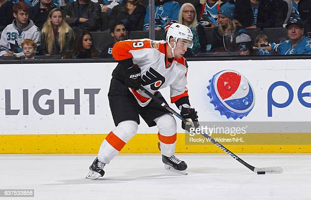 Ivan Provorov of the Philadelphia Flyers skates with the puck against the San Jose Sharks at SAP Center on December 30 2016 in San Jose California