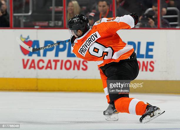 Ivan Provorov of the Philadelphia Flyers takes a slapshot against the Carolina Hurricanes on October 22 2016 at the Wells Fargo Center in...