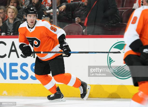 Ivan Provorov of the Philadelphia Flyers warms up against the Los Angeles Kings on December 18 2017 at the Wells Fargo Center in Philadelphia...