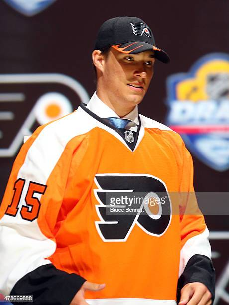 Ivan Provorov poses after being selected seventh overall by the Philadelphia Flyers in the first round of the 2015 NHL Draft at BBT Center on June 26...