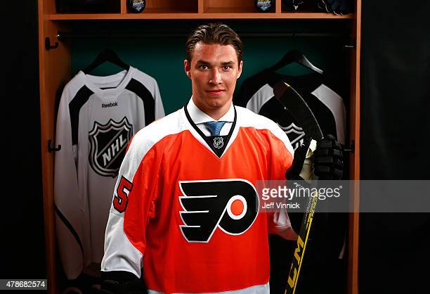 Ivan Provorov poses for a portrait after being selected seventh overall by the Philadelphia Flyers during Round One of the 2015 NHL Draft at BBT...