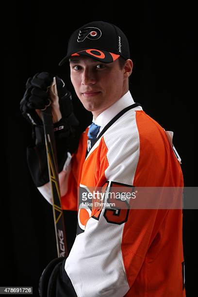 Ivan Provorov poses for a portrait after being selected seventh overall by the Philadelphia Flyers during the 2015 NHL Draft at BBT Center on June 26...