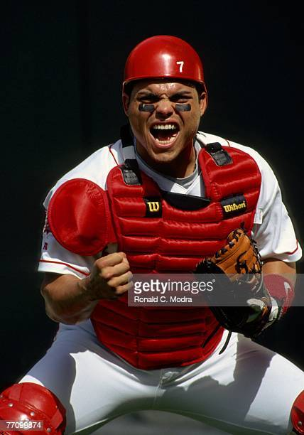 "Ivan ""Pudge"" Rodriguez of the Texas Rangers poses prior to a game against the Colorado Rockies on July 3, 1997 in Arlington, Texas."