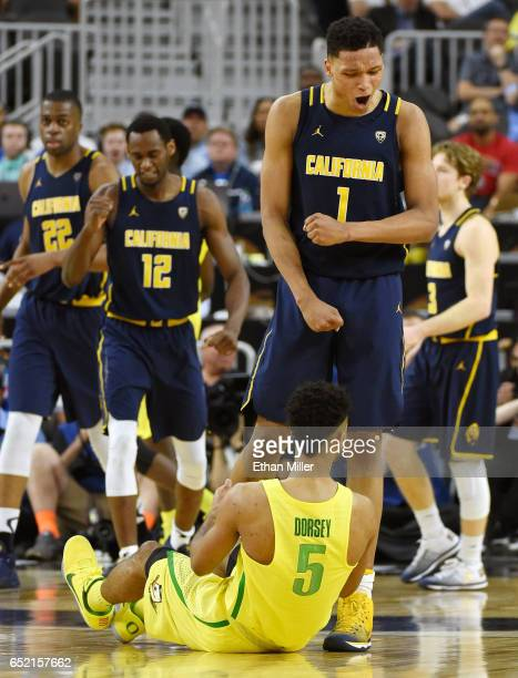 Ivan Rabb of the California Golden Bears celebrates in front of Tyler Dorsey of the Oregon Ducks during a semifinal game of the Pac12 Basketball...