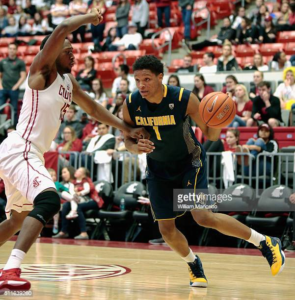 Ivan Rabb of the California Golden Bears drives against Junior Longrus of the Washington State Cougars in the second half of the game at Beasley...