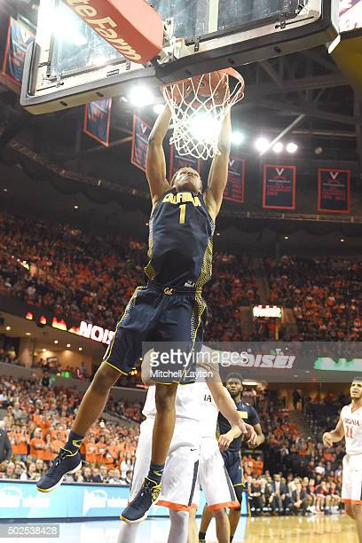 Ivan Rabb of the California Golden Bears goes for a dunk during a college basketball game against the Virginia Cavaliers at John Paul Jones Arena on...