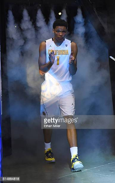 Ivan Rabb of the California Golden Bears is introduced before the team's quarterfinal game of the Pac12 Basketball Tournament against the Oregon...