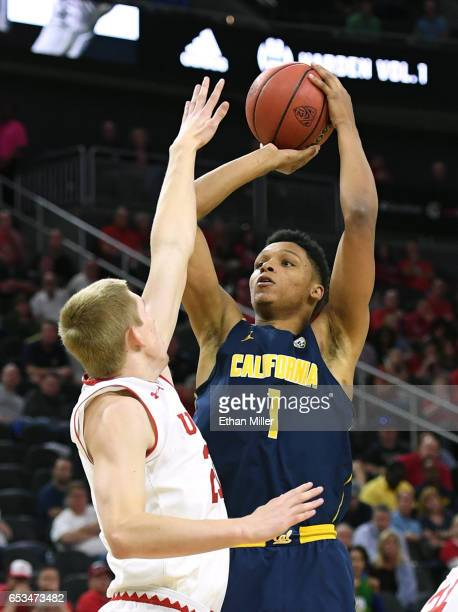 Ivan Rabb of the California Golden Bears shoots against Tyler Rawson of the Utah Utes during a quarterfinal game of the Pac12 Basketball Tournament...