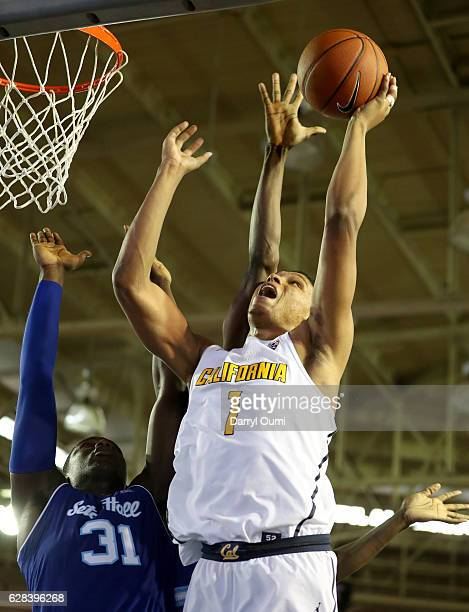 Ivan Rabb of the California Golden Bears shoots over Angel Delgado of the Seton Hall Pirates during the first half of the Pearl Harbor Invitational...