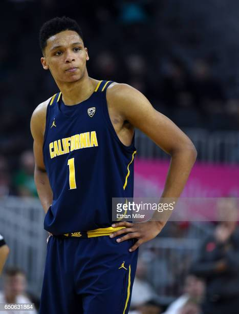 Ivan Rabb of the California Golden Bears stands on the court during a quarterfinal game of the Pac12 Basketball Tournament against the Utah Utes at...