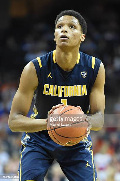 Ivan Rabb of the California Golden Bears takes a foul shot during a college basketball game against the Virginia Cavaliers at John Paul Jones Arena...