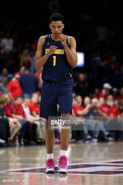 Ivan Rabb of the California Golden Bears walks on the floor during the second half of the college basketball game against the Arizona Wildcats at...