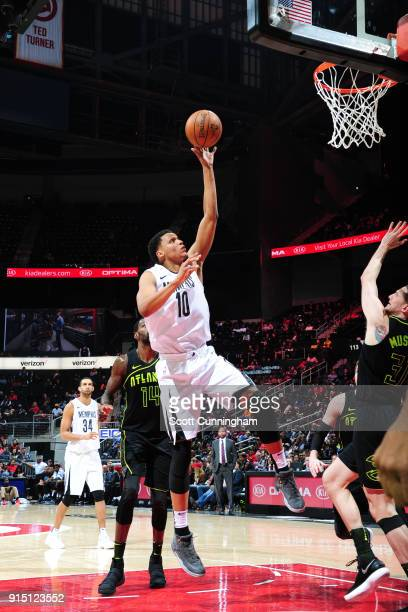 Ivan Rabb of the Memphis Grizzlies drives to the basket against the Atlanta Hawks on February 6 2018 at Philips Arena in Atlanta Georgia NOTE TO USER...