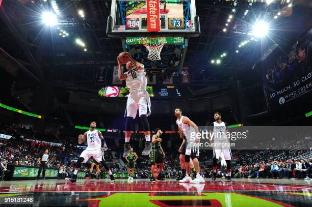 Ivan Rabb of the Memphis Grizzlies handles the ball against the Atlanta Hawks on February 6 2018 at Philips Arena in Atlanta Georgia NOTE TO USER...