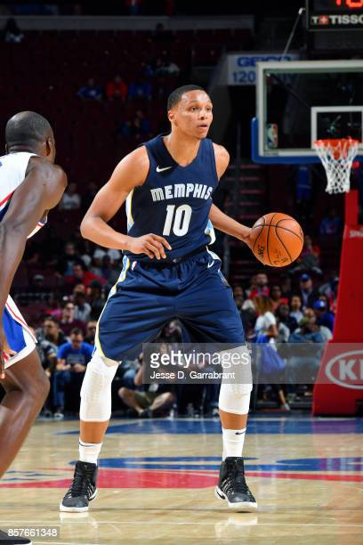 Ivan Rabb of the Memphis Grizzlies handles the ball during the game against the Philadelphia 76ers during a preseason game on October 4 2017 at Wells...