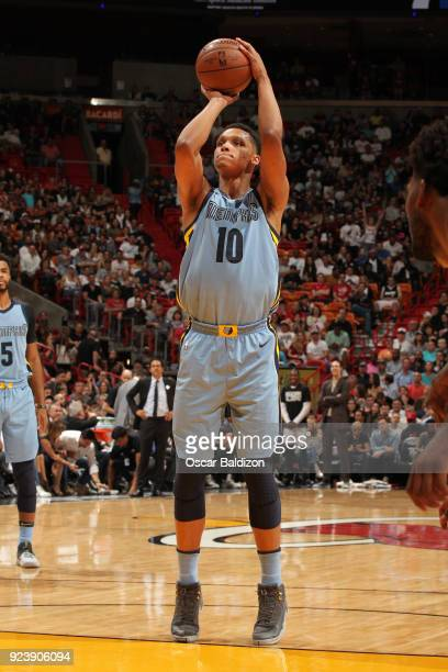 Ivan Rabb of the Memphis Grizzlies shoots a free throw during the game against the Miami Heat on February 24 2018 at American Airlines Arena in Miami...