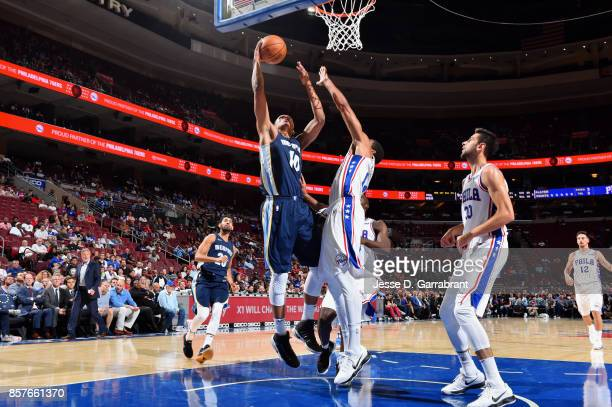 Ivan Rabb of the Memphis Grizzlies shoots a lay up during the game against the Philadelphia 76ers during a preseason game on October 4 2017 at Wells...