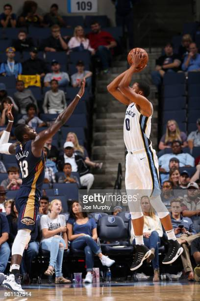 Ivan Rabb of the Memphis Grizzlies shoots the ball during a preseason game against the New Orleans Pelicans on October 13 2017 at FedExForum in...