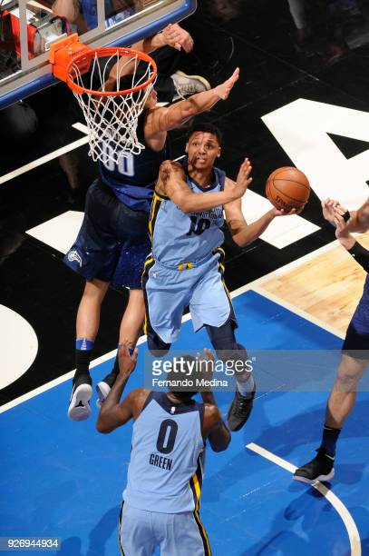 Ivan Rabb of the Memphis Grizzlies shoots the ball during the game against the Orlando Magic on March 23 2018 at Amway Center in Orlando Florida NOTE...