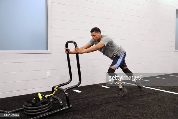 Ivan Rabb of the Memphis Grizzlies warms up in the weight room prior to the game against the Los Angeles Lakers on January 15 2018 at FedExForum in...