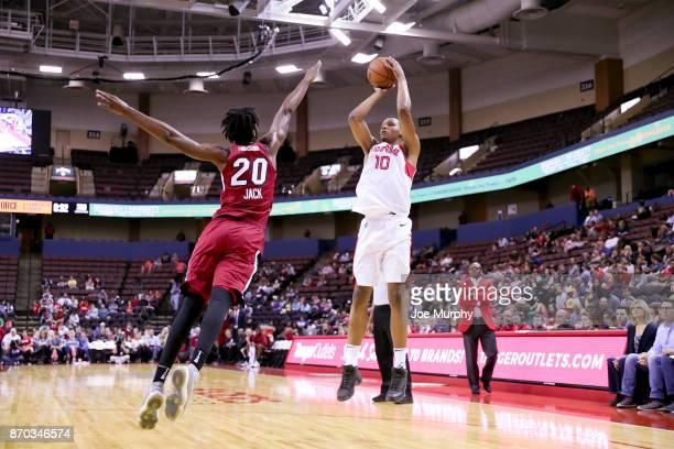 Ivan Rabb of the Memphis Hustle shoots the ball against the Sioux Falls Skyforce during an NBA GLeague game on November 4 2017 at Landers Center in...