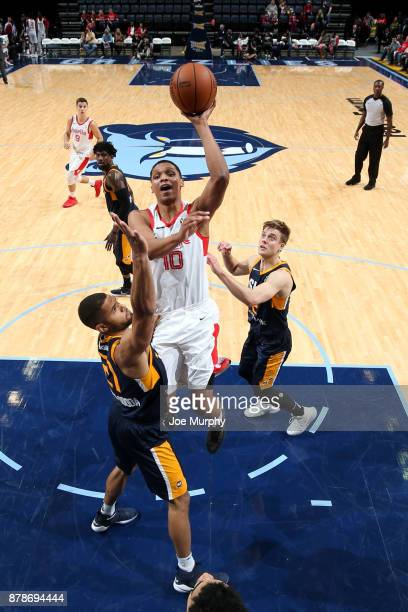 Ivan Rabb of the Memphis Hustle shoots the ball during the game against the Salt Lake City Stars on November 24 2017 at FedEx Forum Memphis Tennessee...