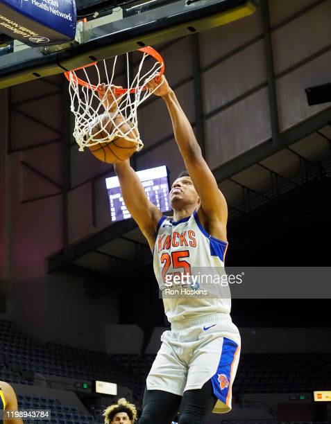 Ivan Rabb of the Westchester Knicks dunks the ball against the Fort Wayne Mad Ants on February 6 2020 at Memorial Coliseum in Fort Wayne Indiana NOTE...
