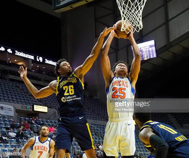 Ivan Rabb of the Westchester Knicks shoots the ball against the Fort Wayne Mad Ants on February 6 2020 at Memorial Coliseum in Fort Wayne Indiana...