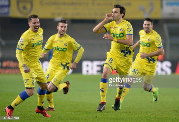 Ivan Radovanovic of Chievo Verona celebrates after scoringh his opening goal during the Serie A match between AC Chievo Verona and Udinese Calcio at...