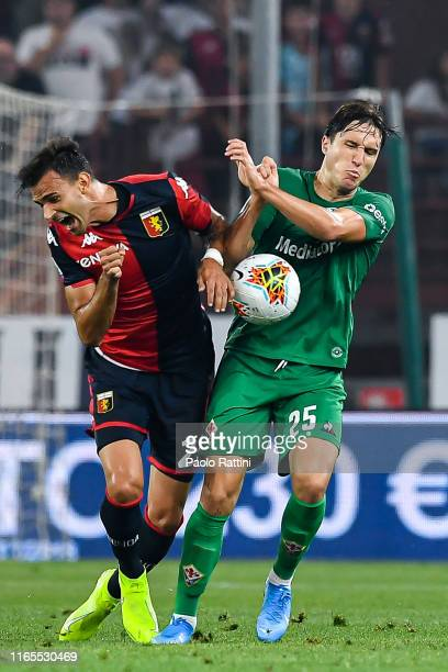 Ivan Radovanovic of Genoa and Federico Chiesa of Fiorentina during the Serie A match between Genoa CFC and ACF Fiorentina at Stadio Luigi Ferraris on...
