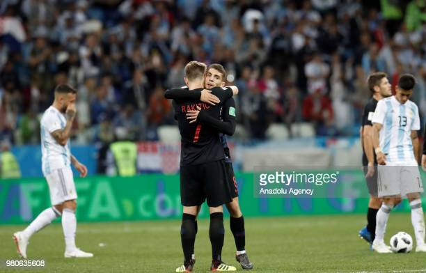 Ivan Rakitic and Mateo Kovacic of Croatia hug after winning the 2018 FIFA World Cup Russia Group D match against Argentina at Nizhny Novgorod Stadium...