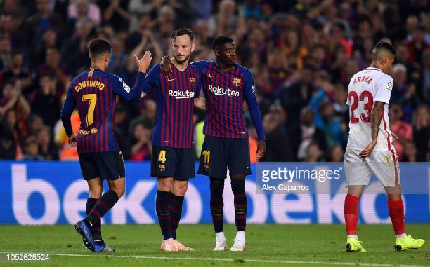 Ivan Rakitic celebrates as he scores his sides fourth goal during the La Liga match between FC Barcelona and Sevilla FC at Camp Nou on October 20...