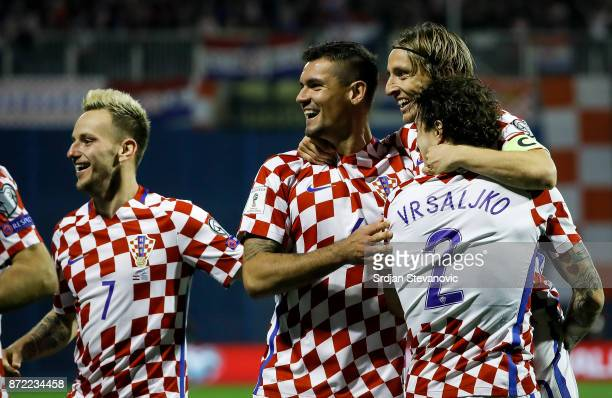 Ivan Rakitic Dejan Lovren Luka Modric and Sime Vrsaljko of Croatia celebrate during the FIFA 2018 World Cup Qualifier PlayOff First Leg between...