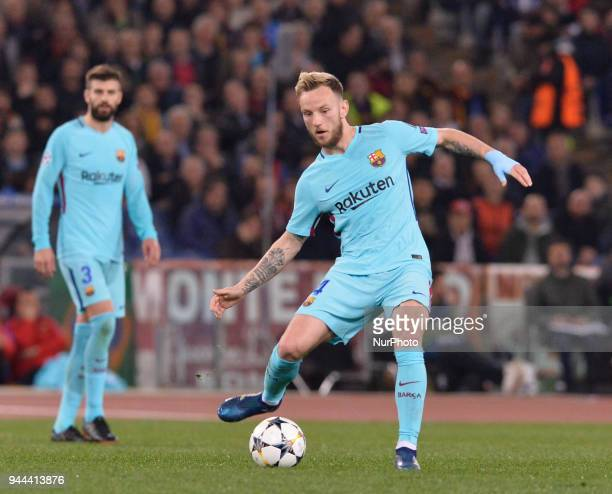 Ivan Rakitic during the UEFA Champions League quarter final match between AS Roma and FC Barcelona at the Olympic stadium on April 10 2018 in Rome...