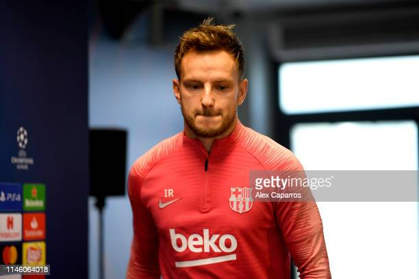 Ivan Rakitic of Barcelona attends an FC Barcelona press conference ahead of their UEFA Champions League semifinal first leg match against Liverpool...
