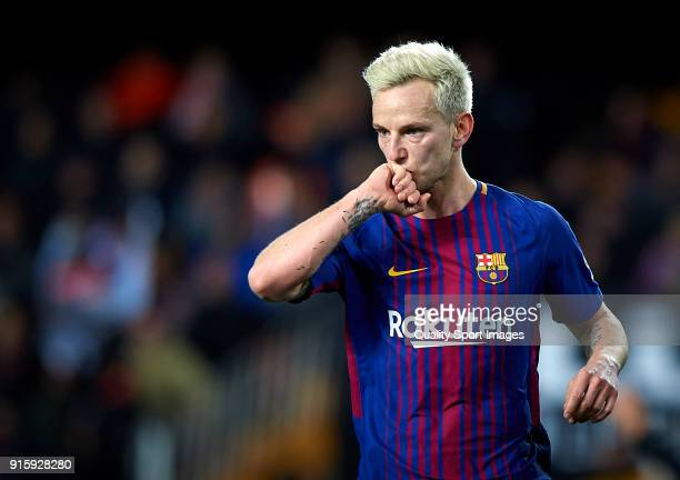 Ivan Rakitic of Barcelona celebrates after scoring the second goal during the Semi Final Second Leg match of the Copa del Rey between Valencia CF and...