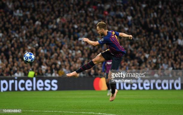 Ivan Rakitic of Barcelona scores his team's second goal during the Group B match of the UEFA Champions League between Tottenham Hotspur and FC...