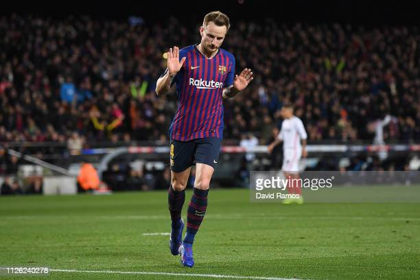 Ivan Rakitic of Barcelona shows little emotion after scoring his sides second goal against his former team during the Copa del Rey Quarter Final...